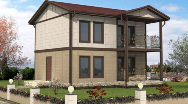 Tip 14 Hafif Çelik İki Katli Villa